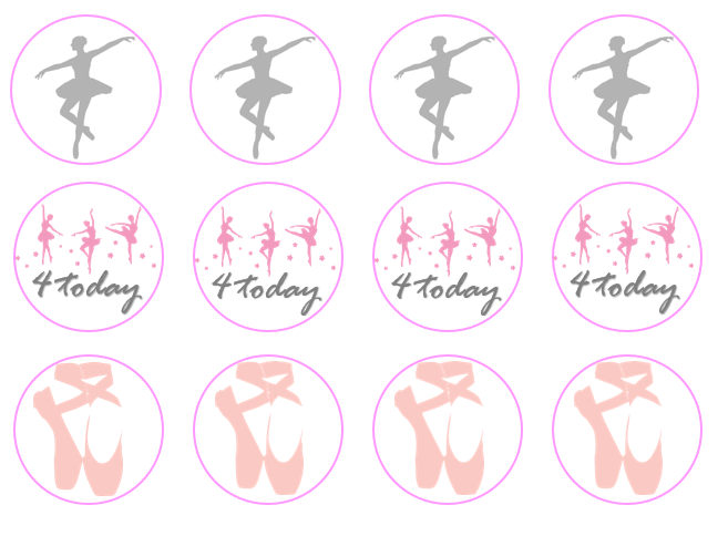 Ballet Cupcake Toppers | 4th Birthday Cake Decorations