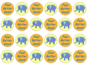 Feel Better Soon Edible Cupcake Toppers | Elephant Cupcake Toppers | Set of 24