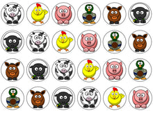 Farm Animal Cake Toppers | Set Of 24