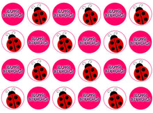 Bright Ladybird Cupcake Toppers | Set of 24
