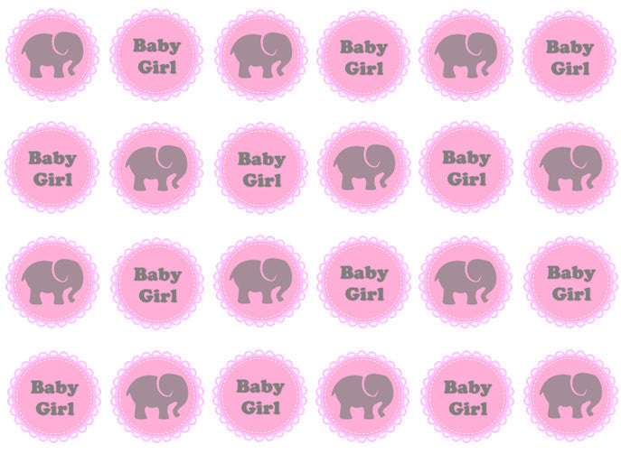 New Baby Girl Edible Cupcake Toppers | Set of 24