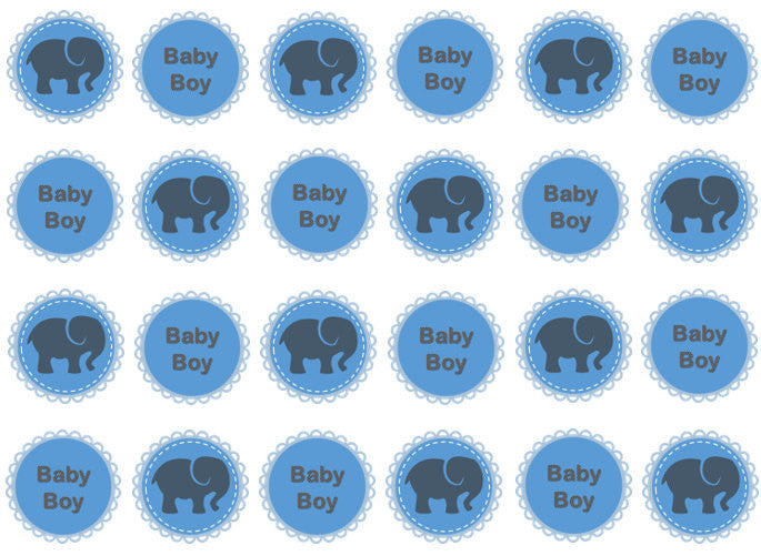 New Baby Boy Edible Cupcake Toppers | Set of 24