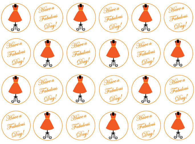 Orange Dress Cupcake Toppers | Edible Cake Topper For Her | Set of 24