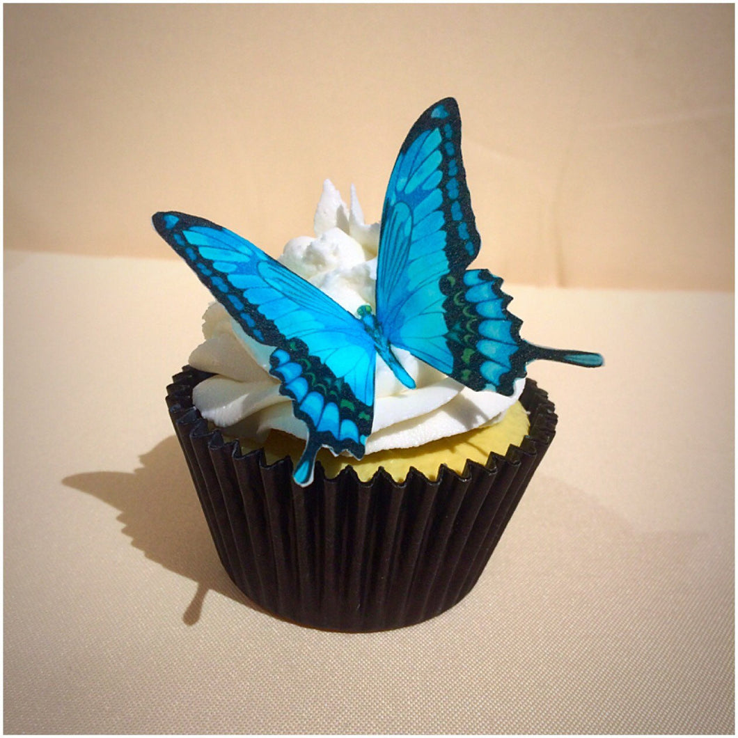Butterfly cake topper edible wafer blue