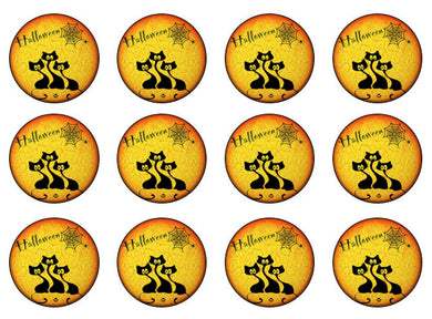 Halloween Cats Edible Cupcake Toppers | Set of 12
