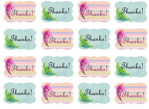 Thanks Cupcake Toppers | Pink & Blue | Edible Thank You Toppers | Set of 16