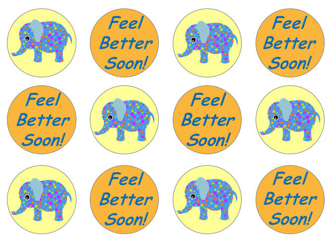 Feel Better Soon Edible Cupcake Toppers | Elephant Cupcake Toppers | Set of 12