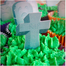 Edible wafer cupcake gravestone toppers for Halloween