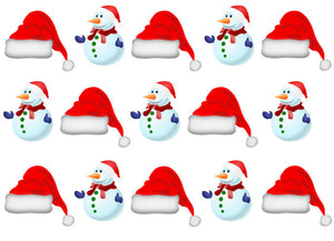 Santa Hat & Snowmen Stand Up Toppers | Edible Cupcake Toppers