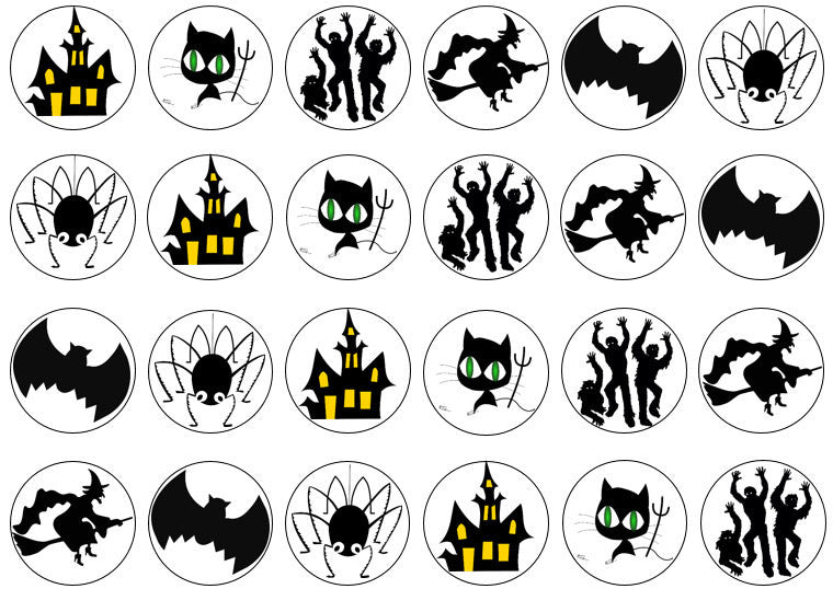 Mixed Halloween Edible Cupcake Toppers | Spooky Cake Decorations | Set of 24