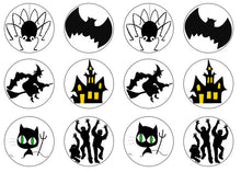 Mixed Halloween Edible Cupcake Toppers | Spooky Cake Decorations | Set of 12