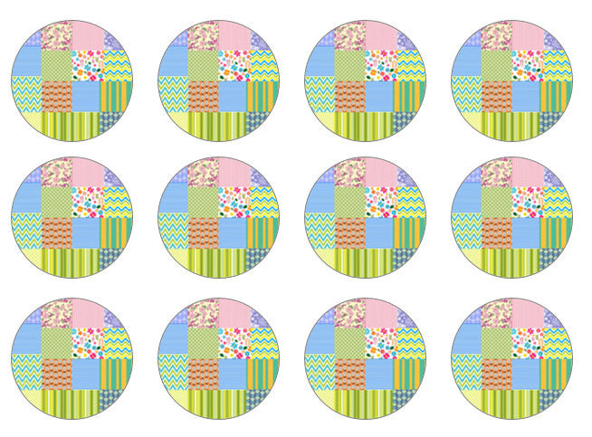 Patchwork Cake Toppers | Set of 12