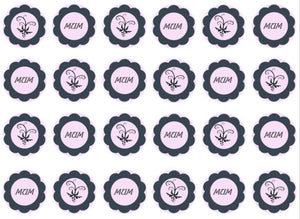 Pink and grey Mum cupcake toppers