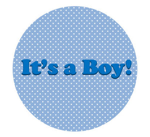 it's a boy cake topper, spotty blue with text