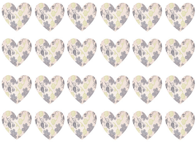 Hearts Edible Paper Cupcake Toppers | The Village Cake Company | Set of 24