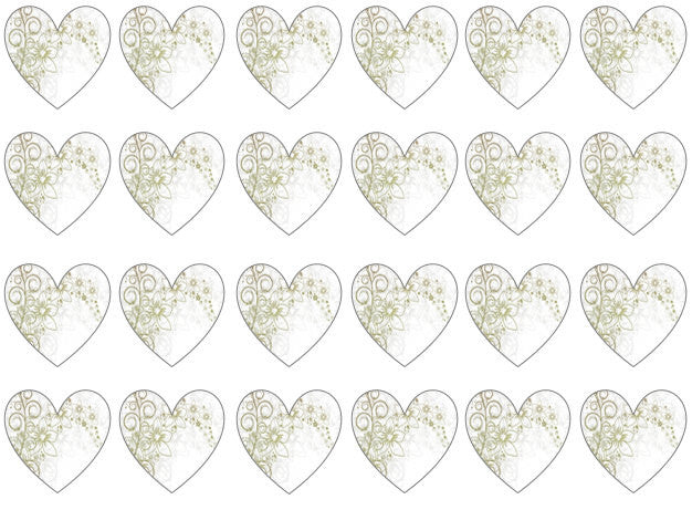 Patterned Heart Cupcake Toppers UK | Edible Wafer Hearts