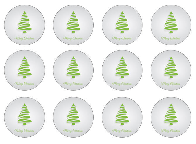 Christmas Tree Cupcake Toppers | Edible Christmas Wafer Toppers