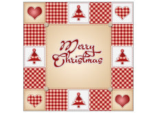 Red Merry Christmas Square Cake Topper in Patchwork Design
