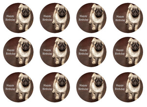 Pug Cupcake Toppers | Set of 12