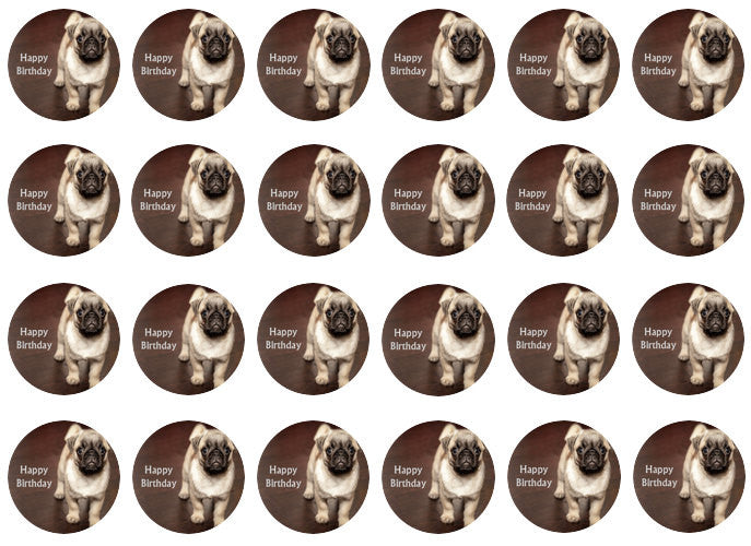 Pug Cupcake Toppers | Set of 24