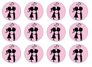 Kissing Couple Edible Cake Toppers | Set of 12