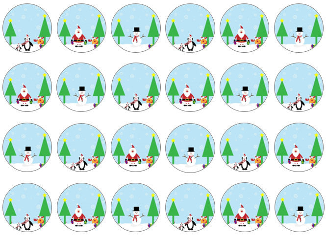 Snow Scene Edible Cupcake Toppers | Christmas Cake Wafer Toppers