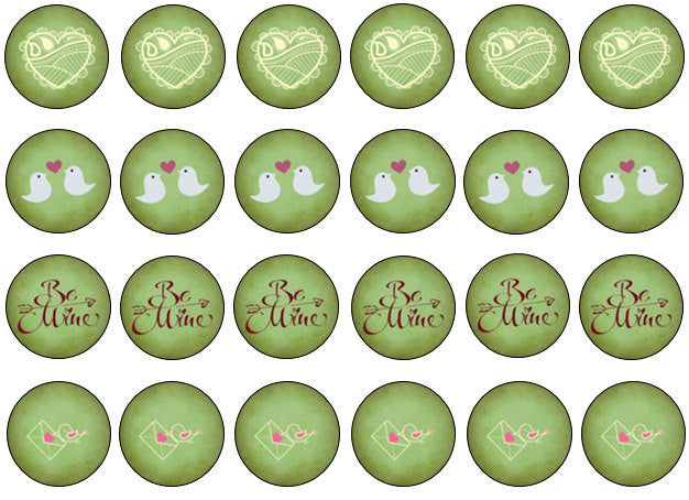 Green Valentine Cupcake Toppers | Edible Valentine Gift UK | set of 24