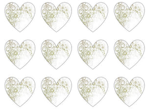 Patterned Heart Cupcake Toppers UK | Set of 12