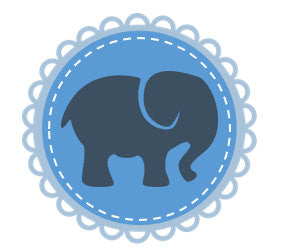 Blue and grey elephant cupcake topper for baby boy