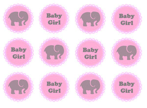 New Baby Girl Edible Cupcake Toppers | Set of 12
