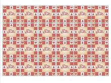 Red Merry Christmas Square Cupcake Toppers in Patchwork Design