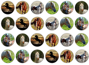 Edible Horse Cake Toppers | For Horse Lover | Edible Cupcake Topper | Set of 24
