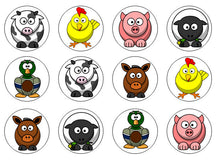 Farm Animal Cake Toppers | Set Of 12
