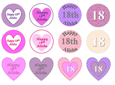 Hearts & Circles Cake Toppers | Pink Toppers