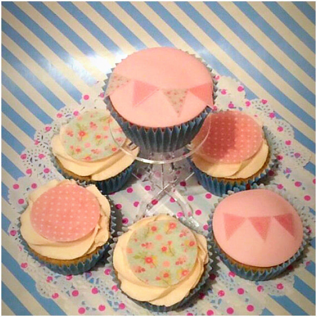 Vintage Edible Bunting Set | Edible Bunting Flags | Cupcake Decoration