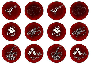 Red Valentine Cupcake Toppers | Love Edible Toppers UK | Set of 12