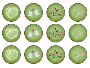 Green Valentine Cupcake Toppers | Edible Valentine Gift UK