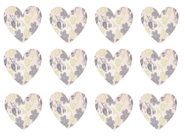 Hearts Edible Paper Cupcake Toppers | The Village Cake Company | Set of 12