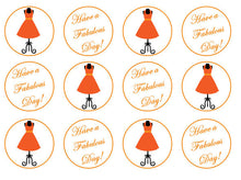 Orange Dress Cupcake Toppers | Edible Cake Topper For Her | Set of 12