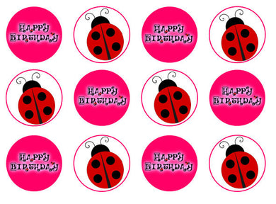 Bright Ladybird Cupcake Toppers | Set of 12