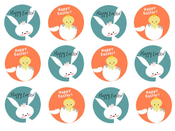 Easter Chick Edible Cake Topper | Easter Bunny Cupcake Decoration | Set of 12