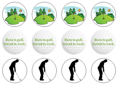 Golf Edible Cupcake Toppers