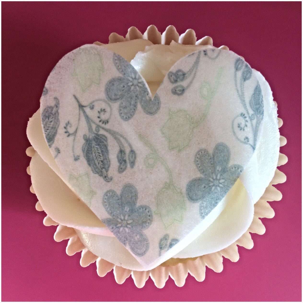 patterned heart cupcake topper | edible toppers uk