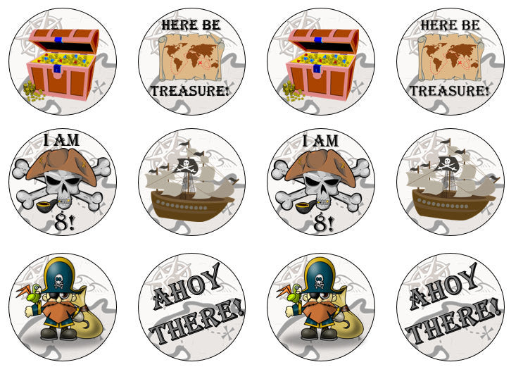 Pirate Cupcake Toppers | Edible Pirate Cake Decoration | Pirate Party