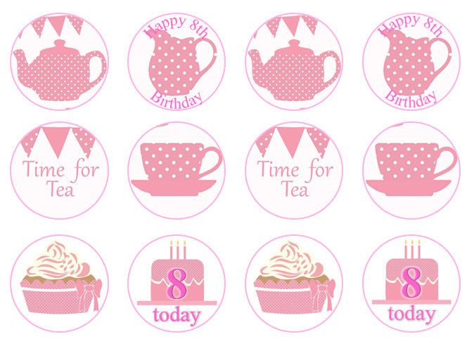Pink Tea Party Cake Toppers | Afternoon Tea Cake Decorations