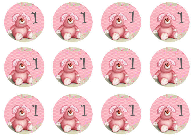 Girls 1st Birthday | Pink Cupcake Toppers | Set of 12