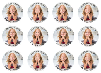 Photo Cupcake Toppers with Custom Text | Set of 12