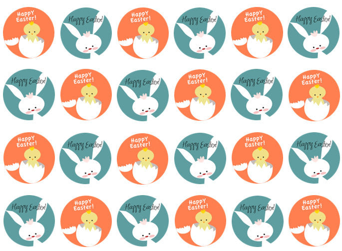 Easter Chick Edible Cake Topper | Easter Bunny Cupcake Decoration | Set of 24