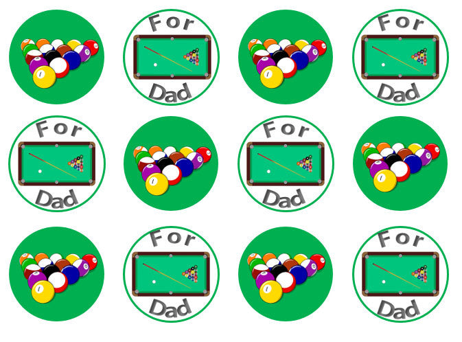 Snooker Edible Cupcake Toppers | Father's Day Gift | Wafer Toppers