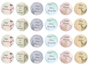 Vintage Style Birthday Cupcake Toppers | Edible Wafer Cake Toppers